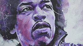 'Jimi Hendrix' - Acryl on Canvas - 70 x 50 x 4 cm - SOLD  -