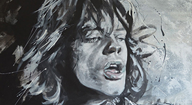 'Mick Jagger' - Acryl on Canvas - Acryl on Canvas - 80 x 60 x 4 cm - FOR SALE -