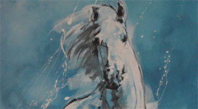 'Blue Horse' - Acryl on Canvas - 100 x 70 x 4 cm - SOLD -