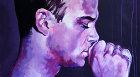 'Robbie Williams' - Acryl on Canvas - 60 x 60 x 4 cm - PRIVEBEZIT -